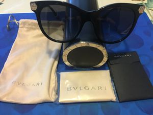 New BVLGARI sunglasses with case, cleaning cloth, protective sack and info booklet. for Sale in Nashville, TN