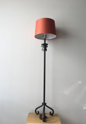Floor lamp with orange lamp shade for Sale in Los Angeles, CA