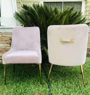 ⭐️New Owen Velvet Side Chair Set. Pink/Gold. P/U by ASHLAN AND TEMPERANCE IN CLOVIS for Sale in Clovis, CA