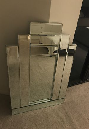 """Beveled Glass Wall Mirror -Contemporary Frameless Tiered Rectangular 42"""" High x 28 """" Width at Bottom ( see drawing) for Sale in Miami, FL"""