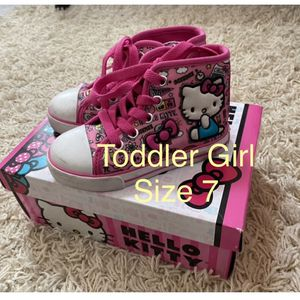 Hello Kitty Toddler Girl Size 7 Sneakers High Tops Shoes for Sale in Sloan, NV