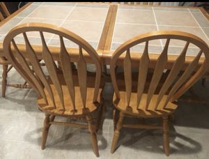 SOLID WOOD KITCHEN TABLE AND SIDE SERVING TABLE for Sale in Fontana, CA