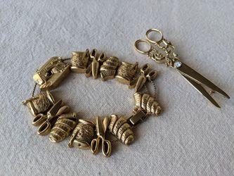 Vintage Sewing Stuff Brushed Gold Sliding Charm Bracelet & Scissors Brooch Pin for Sale in Alpharetta,  GA