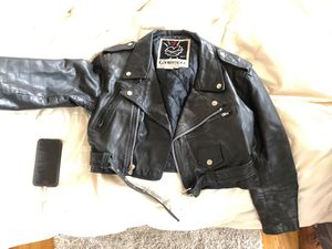 Cropped Leather Jacket - Medium to Small Vintage for Sale in Portland, OR