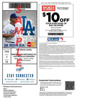 Dodger tickets available for Saturday, August 3 it is Dodger socks giveaway for Sale in Inglewood, CA
