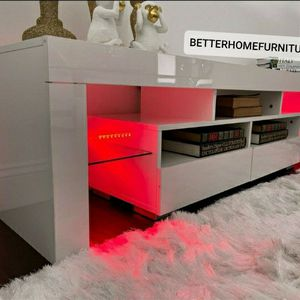 """63"""" Modern High Gloss TV stand, Entertainment stand with remote control L.E.D lights included. for Sale in Fort Lauderdale, FL"""