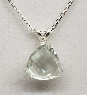 Natural 10x10mm Triangle Topaz Silver Necklace for Sale in Justin, TX