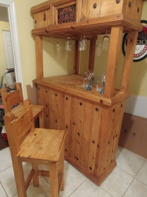 Authentic Knotted Pinewood Bar with stools moving asap for Sale in Fairfax, VA