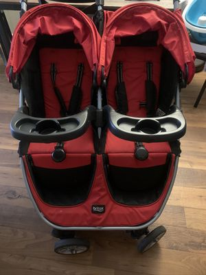 Britax B-Agile double stroller in red with 2 snack trays for Sale in Tampa, FL