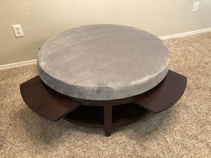 Gorgeous HEAVY Grey Wood storage ottoman coffee table with 4 pull out serving trays and brand new grey velvet upholstery for Sale in Gilbert, AZ