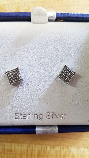 Diamond and silver earrings for Sale in Troutdale, OR
