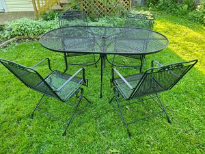 Wrought Iron Table and Chairs - Black for Sale in Wheeling, IL