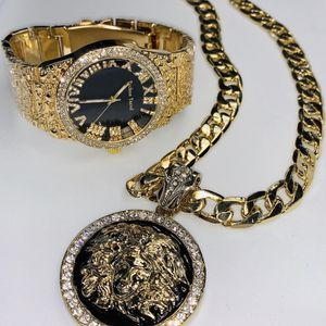 New 14k Stainless Steel Jewelry Set includes Versace-Medusa Pendant-Cuban Chain-Watch $100 for Sale in Las Vegas, NV