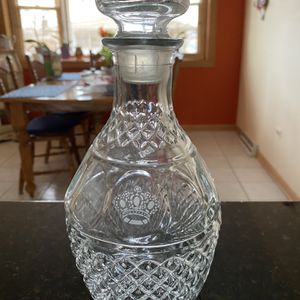VintageWine/Whiskey DECANTER Cut Glass Etched CROWN Royal GRAPES with STOPPER for Sale in Mokena, IL