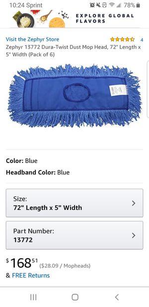 "Zephyr 13772 Dura-Twist Dust Mop Head, 72"" Length x 5"" Width (Pack of 6) for Sale in Clovis, CA"