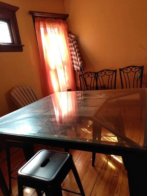 Tall black dining table, glass. for Sale in Buffalo, NY