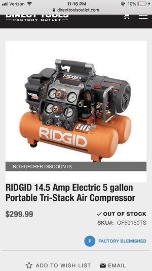 5 in 1 ridgid 5gl portable air compressor for Sale in Lake Stevens, WA