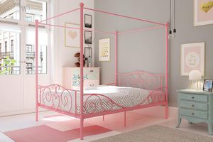 DHP Canopy Metal Bed with Sturdy Bed Frame, Pink, Full for Sale in Rio Linda, CA