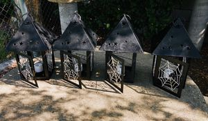 4 Spooky Black Houses Lanterns with New! Candles 🕯 on/off button, Look 👀 pictures for details. All 4 for $20.00 for Sale in Azusa, CA