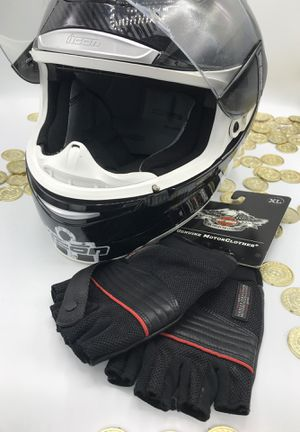 Icon Motorcycle Helmet - Size Med. & New Harley Davidson Gloves - XL for Sale in Queens, NY