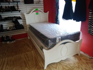 Twin size brand new mattress and box spring on white bed for Sale in Tampa, FL