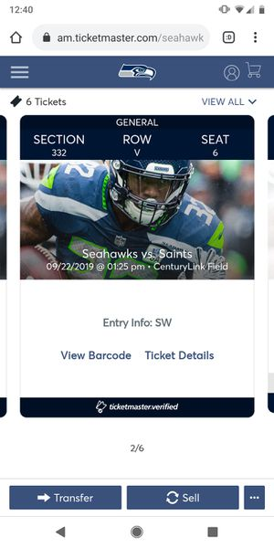 Seahawks vs Saints - Section 332, Row V for Sale in Issaquah, WA