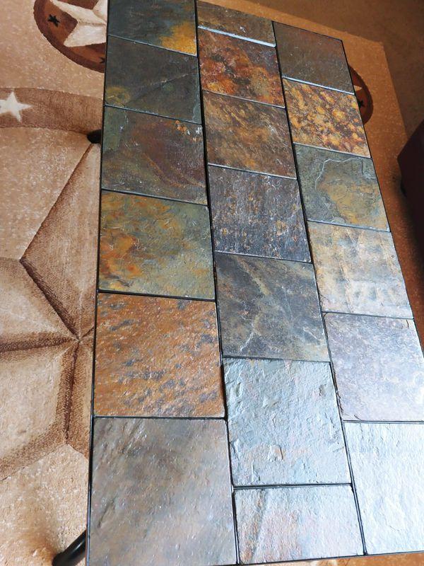 Metal / Slate Rectangular Coffee Table