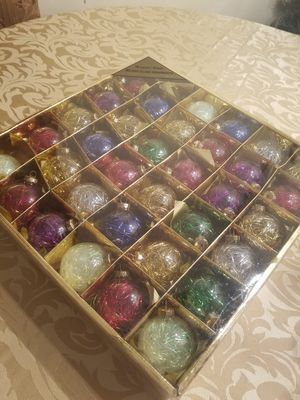 $15.00 - Christmas Ornaments, Set of 36/NEW/Glass/Medium Size/Filled with Colored Tinsels for Sale in Miami, FL