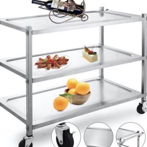 Utility Cart 3 Shelf Utility Cart on Wheels 330Lbs Stainless Steel Cart 333 for Sale in Downey, CA