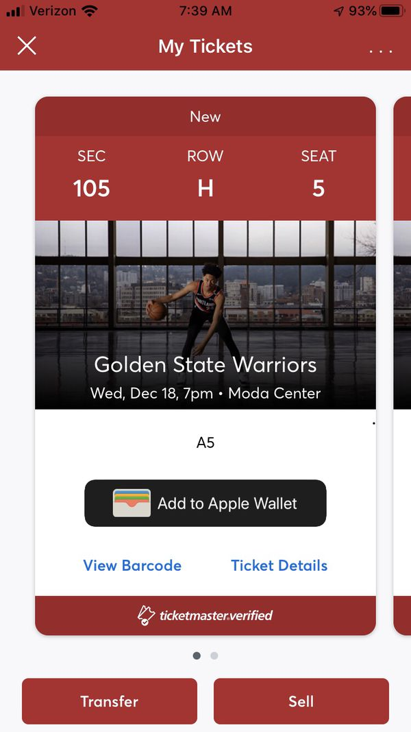 Blazers vs Warriors $200 for both tickets 12/18