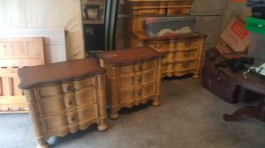 6 piece wood dresser set, mirror, end tables, armoire for Sale in FL, US