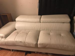 Leather two-piece couch White for Sale in Wichita, KS
