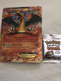 Giant Charizard Card & Pokémon 10 Stickers 1999 Pack Series 1 New Both For $20 for Sale in Reedley,  CA