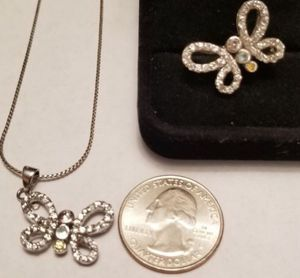 Beautiful Vintage Sterling Silver Butterfly necklace and matching size 8.5 ring for Sale in Lake Stevens, WA