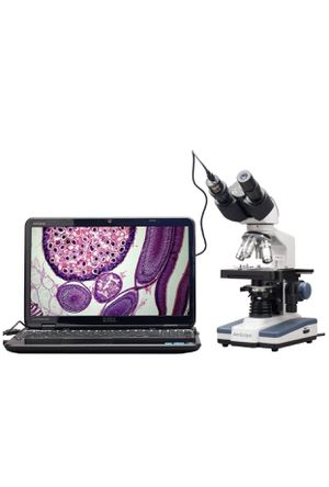 Amscope B120C-E1 siedentopf monocular compound microscope, 40x-2500X magnification, illumination abbe condenser, two-layer mechanical stage, 1.3 MP c for Sale in San Dimas, CA