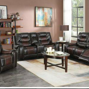 2-Tone Brown Reclining 3 Piece Sofa Set for Sale in Atlanta, GA