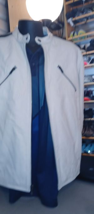 Street Legal White 100% Leather rMotorcycle. jacket for Sale in Denver, CO