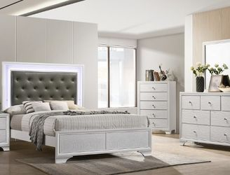4 pc AJ homes Lyssa frost wood finish wood queen LED bedroom set for Sale in West Covina,  CA
