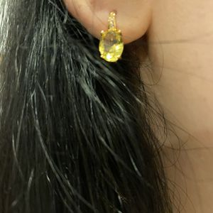 Yellow Oval Shaped Gold plated Earrings for Sale in Washington, DC