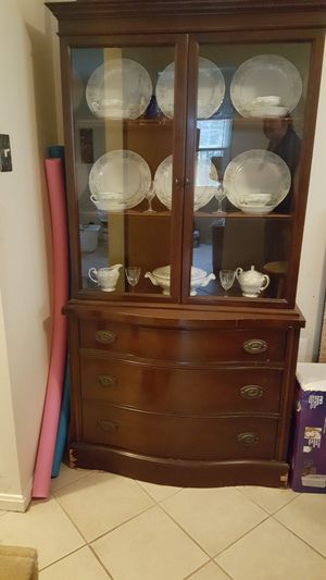 Antique Mahogany China Cabinet with Dishes for Sale in City of Manassas, VA