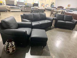 Leather sofa black Italian leather set for Sale in Largo, FL
