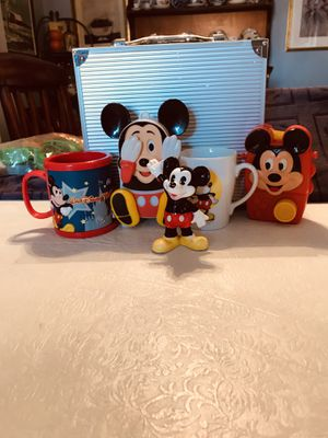 Assortment of Vintage Mickey Mouse items, the musical toys, 2 cups one ceramic the other one thick plastic and a ceramic figure (price is for all) for Sale in PA, US
