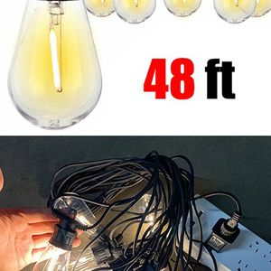 Brand New $35 LED 48ft String Lights 15 Bulbs Outdoor Patio Garden Christmas Waterproof (Power Adapter) for Sale in Pico Rivera, CA