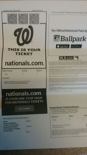 4 nationals tickets and parking pass for TONIGHT for Sale in Harpers Ferry, WV