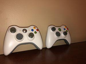 2 White Xbox 360 Wireless Controllers for Sale in Dublin, GA