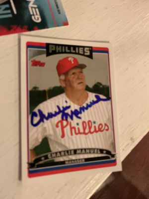 Charlie Manuel Signed Phillies Trading Card for Sale in Jenkintown, PA
