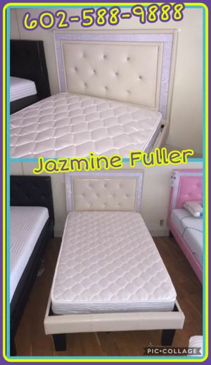 White twin size platform bed frame with mattress for Sale in Glendale, AZ
