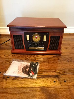 Victrola - Bluetooth stereo audio system - mahogany - record/cassette/CD/radio for Sale in Farmers Branch, TX