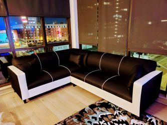 NEW 7X9FT DOMINO BLACK FABRIC COMBO SECTIONAL COUCHES for Sale in Lakewood,  CA