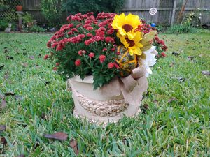 Vintage Flower Pot Fall Floral Decor w/ Real Mum for Sale in Pearland, TX